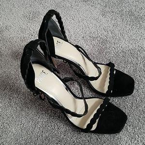 8 Paige high heel suede black sandals